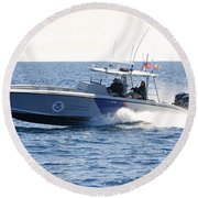 Us Customs At Work Round Beach Towel