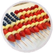 American Flag Fruit Kabobs Round Beach Towel