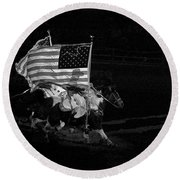 Round Beach Towel featuring the photograph U.s. Flag Western by Ron White