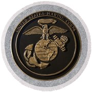 Us Marine Corps Round Beach Towel