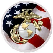 U. S. Marine Corps - U S M C Eagle Globe And Anchor Over American Flag. Round Beach Towel by Serge Averbukh