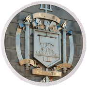 Us Naval Academy Insignia Round Beach Towel by Mark Dodd