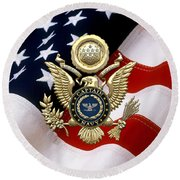 U. S.  Navy Captain - C A P T  Rank Insignia Over Gold Great Seal Eagle And Flag Round Beach Towel
