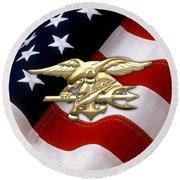 U. S. Navy S E A Ls Emblem Over American Flag Round Beach Towel
