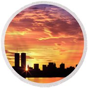 Us, New York City, Skyline, Sunrise Round Beach Towel