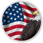 Usa Flag And Bald Eagle Round Beach Towel by Carsten Reisinger