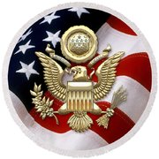 U. S. A. Great Seal In Gold Over American Flag  Round Beach Towel
