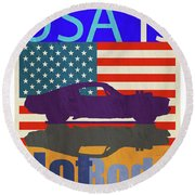 Usa Is Hot Rods Round Beach Towel