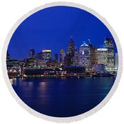 Round Beach Towel featuring the photograph Usa, Michigan, Detroit, Night by Panoramic Images