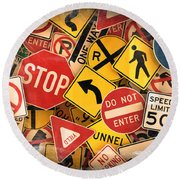 Usa Traffic Signs Round Beach Towel by Carsten Reisinger