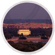 Usa, Washington Dc, Aerial, Night Round Beach Towel