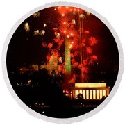 Usa, Washington Dc, Fireworks Round Beach Towel