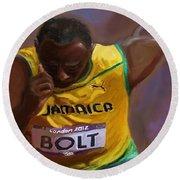 Usain Bolt 2012 Olympics Round Beach Towel