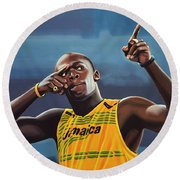 Usain Bolt Painting Round Beach Towel