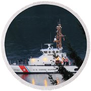 Uscgc Blue Shark Round Beach Towel by E Faithe Lester