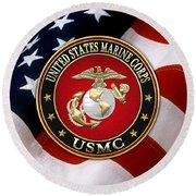 U S M C Eagle Globe And Anchor - E G A Over American Flag. Round Beach Towel