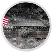 Round Beach Towel featuring the photograph Usmc Veteran Headstone by Sherman Perry