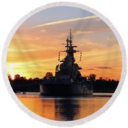 Round Beach Towel featuring the photograph Uss Battleship by Cynthia Guinn