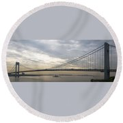 Uss Cole And The Verrazano Narrows Bridge Round Beach Towel