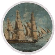 Round Beach Towel featuring the painting Uss Constitution 1803 by Celestial Images
