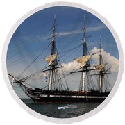 Uss Constitution - Featured In Comfortable Art Group Round Beach Towel