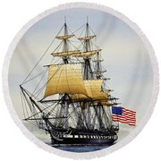 Uss Constitution Round Beach Towel by James Williamson