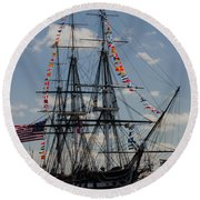 Uss Constitution Round Beach Towel by Mike Ste Marie