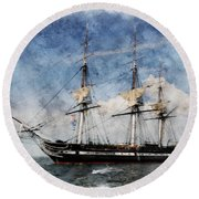 Uss Constitution On Canvas - Featured In 'manufactured Objects' Group Round Beach Towel