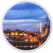 Uss Yorktown Museum Round Beach Towel by Jerry Fornarotto