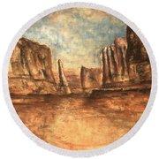 Utah Red Rocks - Landscape Art Painting Round Beach Towel