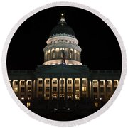 Utah State Capitol Front Round Beach Towel