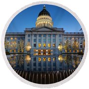 Utah State Capitol In Reflecting Fountain At Dusk Round Beach Towel by Gary Whitton