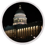 Round Beach Towel featuring the photograph Utah State Capitol East by David Andersen
