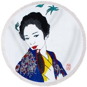 Round Beach Towel featuring the painting Utsukushi Geisha 2 by Roberto Prusso