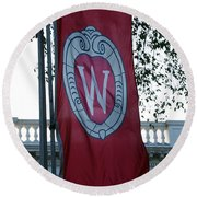 Uw Flag Round Beach Towel