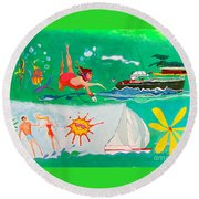 Vacation All I Ever Wanted Round Beach Towel by Beth Saffer