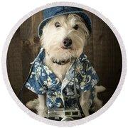 Vacation Dog Round Beach Towel by Edward Fielding