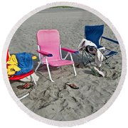 Round Beach Towel featuring the photograph Vacation Time Beach Art Prints by Valerie Garner