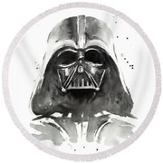 Darth Vader Watercolor Round Beach Towel