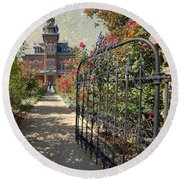 Vaile Landscape And Gate Round Beach Towel by Liane Wright