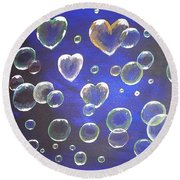 Valentine Bubbles Round Beach Towel