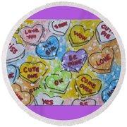 Valentine Candy Hearts Round Beach Towel