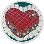 Valentine Heart Round Beach Towel
