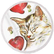 Valentine Cat Round Beach Towel by Teresa White