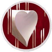 Valentine Paper Heart Round Beach Towel