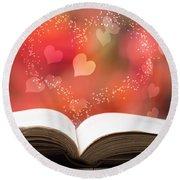 Valentine Story Book Round Beach Towel