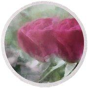 Valentine's Roses Round Beach Towel