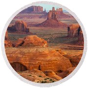 Valley Of Monuments At Dawn Round Beach Towel