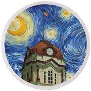 Van Gogh Courthouse Round Beach Towel