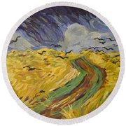 Van Gogh Wheat Field With Crows Copy Round Beach Towel